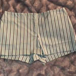 Express blue and white stripped shorts